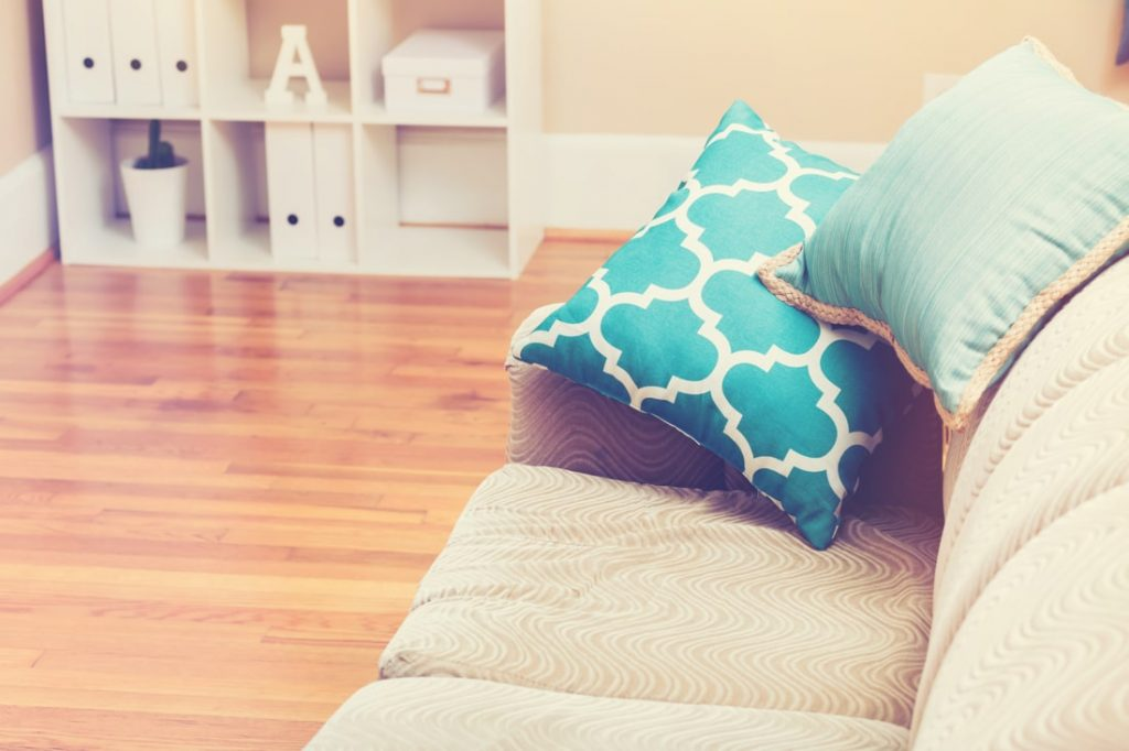 pillow on couch in living room