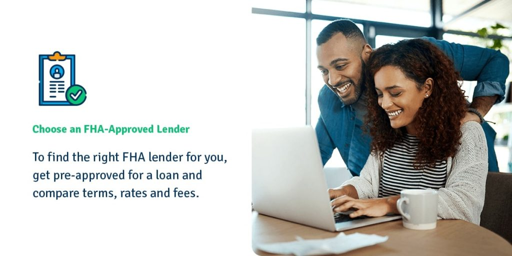 Couple looking at laptop to choose FHA Lender