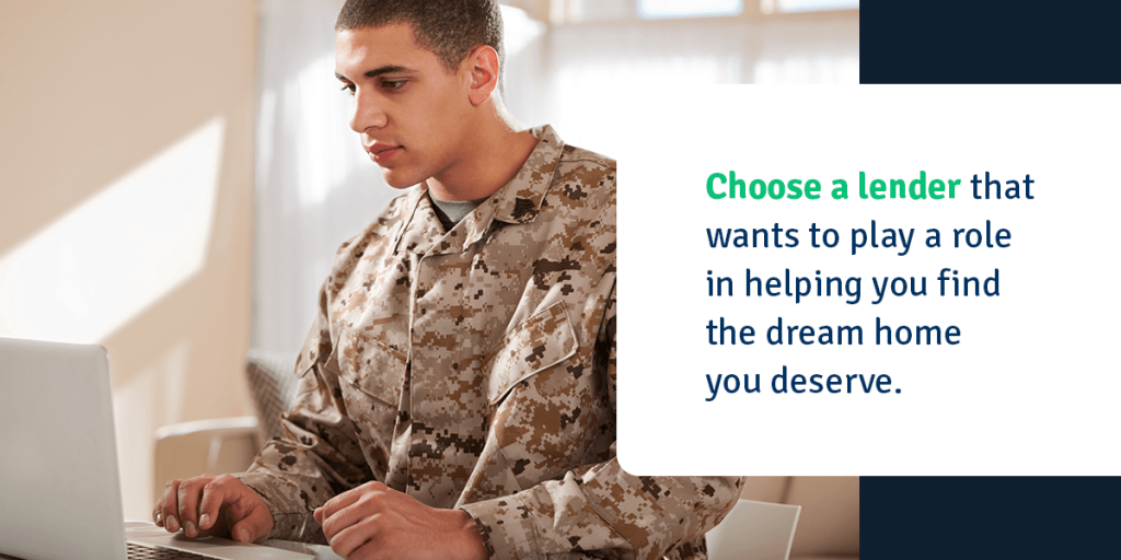soldier on laptop working on home loan